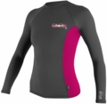 O'Neill Womens Skins Long Sleeve Crew Rashguard 50+ UV Protection - Grey/Pink