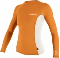 O'Neill Womens Skins Long Sleeve Crew Rashguard 50+ UV Protection - Sorbet / White