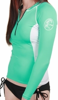 O'Neill Womens Skins Seaside Long Sleeve Zip Crew Rashguard-Aqua/White