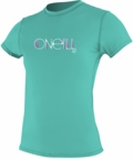 O'Neill Womens Skins Short Sleeve Rash Tee Rashguard 50+ UPF Rating - Aqua