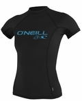 O'Neill Womens Skins Short Sleeve Rashguard 50+ UV Protection Black