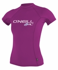 O'Neill womens Skins Short Sleeve Rashguard 50+ UV Protection - Fox Pink