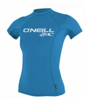 O'Neill Womens Skins Short Sleeve Rashguard 50+ UV Protection Riviera Blue