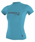 O'Neill womens Skins Short Sleeve Rashguard 50+ UV Protection - Turquoise