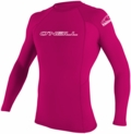 O'Neill Youth Basic Skins Long Sleeve Rashguard 50+ UV Protection-Pink