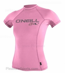 O'Neill Youth Skins Rashguard Short Sleeve 50+ UV Protection PINK