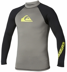 Quiksilver All Time Long Sleeve Men's Rashguard 50+ UV Protection - Grey/Black