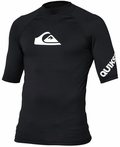 Quiksilver All Time Men's Short Sleeve Rashguard 50+ UV Protection - Black
