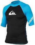 Quiksilver All Time Men's Short Sleeve Rashguard 50+ UV Protection - Blue/Black
