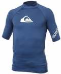 Quiksilver All Time Men's Short Sleeve Rashguard 50+ UV Protection - Navy