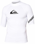 Quiksilver All Time Men's Short Sleeve Rashguard 50+ UV Protection - White