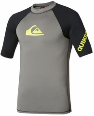 Quiksilver All Time Short Sleeve Men's Rashguard 50+ UV Protection - Grey/Black