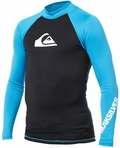 Quiksilver Men's ALL TIME Long Sleeve Rashguard 50+ UV Protection - Blue/Black