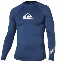 Quiksilver Men's ALL TIME Long Sleeve Rashguard 50+ UV Protection - Navy