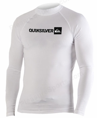 Quiksilver Men's Long Sleeve Rashguard 50+ UV Protection - White