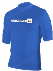 Quiksilver Plain Men's Short Sleeve Rashguard 50+ UV Protection - Royal