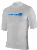 Quiksilver Plain Men's Short Sleeve Rashguard 50+ UV Protection - Silver