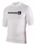 Quiksilver Plain Men's Short Sleeve Rashguard 50+ UV Protection - White