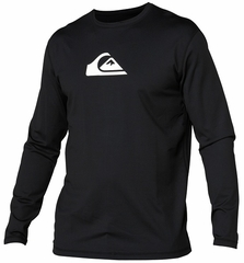 Quiksilver Solid Streak Loose Fit Men's Long Sleeve Rashguard 50+ UV Protection - Black