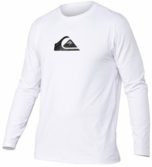 Quiksilver Solid Streak Loose Fit Men's Long Sleeve Rashguard 50+ UV Protection - White