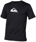 Quiksilver Solid Streak Loose Fit Men's Short Sleeve Rashguard 50+ UV Protection - Black