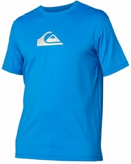 Quiksilver Solid Streak Loose Fit Men's Short Sleeve Rashguard 50+ UV Protection - Blue