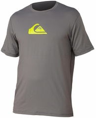 Quiksilver Solid Streak Loose Fit Men's Short Sleeve Rashguard 50+ UV Protection - Grey