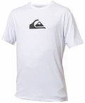 Quiksilver Solid Streak Loose Fit Men's Short Sleeve Rashguard 50+ UV Protection -White