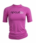 Rip Curl Cloudbreak Women's Short Sleeve Rashguard - Rose