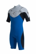 Rip Curl E-Bomb Pro 2mm Chest Zip S/S Spring Suit Wetsuit Mens -Blue