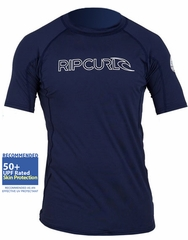 Rip Curl Freelite Short Sleeve Men's Rashguard 50+ UV Protection - Navy Blue