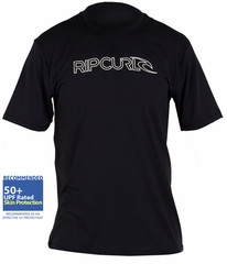 Rip Curl Freelite Rashguard Men's Short Sleeve Loose Fit 50+ UPF - Black