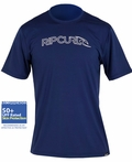 Rip Curl Men's Freelite Rashguard Short SleeveLoose Fit 50+ UPF - Navy