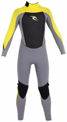 Rip Curl Kids Dawn Patrol Wetsuit 3/2mm Flatlock - Grey/Lemon Yellow