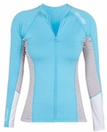 Rip Curl Mavericks Rashguard Women's Long Sleeve Front Zip Sun Shirt - Blue