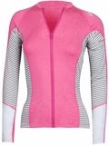 Rip Curl Mavericks Rashguard Women's Long Sleeve Front Zip Sun Shirt - Pink