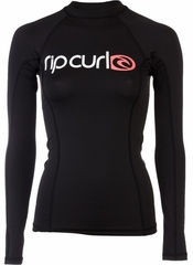 Rip Curl Women's Rashguard Surf Team Long Sleeve 50+ UV Protection - Black