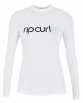 Rip Curl Women's Surf Team Rashguard Long Sleeve 50+ UV Protection - White