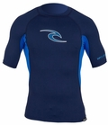 Rip Curl Men's Wave Short Sleeve Rashguard 50+ UV Protection - Navy Blue