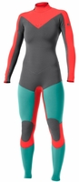 Roxy Kassia Meador 3/2mm Full Back Zip Wetsuit - Grey/Aqua/Coral