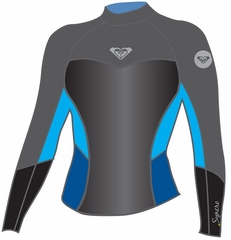 Roxy SYNCRO 1.5MM LONG SLEEVE JACKET - Black/Grey/Blue