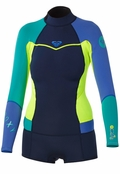 Roxy Syncro Booty Cut Springsuit Womens Long Sleeve Wetsuit - Navy/Lemon/Purple