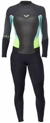 Roxy Syncro 3/2mm Women's Back Zip GBS Wetsuit - Black/Grey/Green