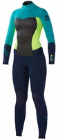 Roxy Syncro 4/3mm Women's Back Zip GBS Wetsuit - Navy/Lemon/Turquoise