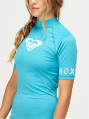 Roxy Whole Hearted Rash Guard Short Sleeve TURQUOISE- New Season!
