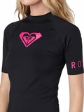 Roxy Women's Rash Guard Whole Hearted Short Sleeve Pink Logo - Black