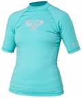 Roxy Whole Hearted Women's Rash Guard Short Sleeve - Turquoise
