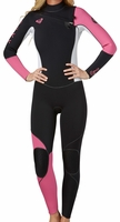 Roxy Woman's Cypher 4/3mm Full Chest Zip Wetsuit - Black/Pink
