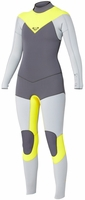 Roxy XY 3/2mm Full Back Zip Wetsuit - Grey/Yellow