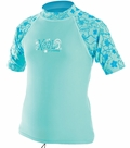 XCEL Girl's UPF 50+ Short Sleeve Rashguard - Blue
